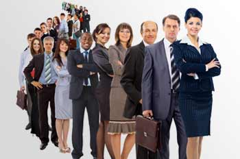 Diverse group of professionals in line behind a leading woman
