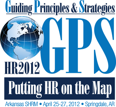 "HR2012 Logo: ""GPS: Putting HR on the Map"""