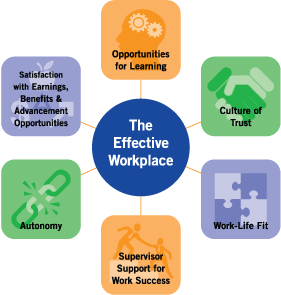 The Effective workplace exibits opportunities for learning, a culture of trust, work-life fit, supervisor support for work success, autonomy, and satisfaction with earnings, benefits and achievement opportunities.